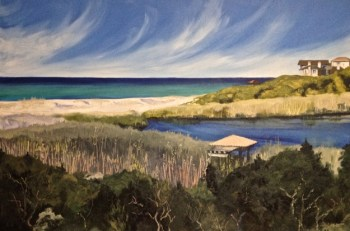 Oil painting of the view from a balcony at Sanctuary By The Sea, Santa Rosa Beach, Florida: Redfish Lake and the Gulf of Mexico