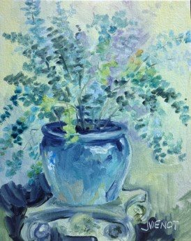 Oil painting of eucalyptus in a blue pot at Grayt Grounds of Monet Monet