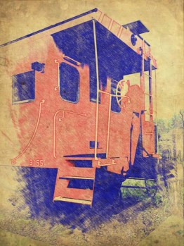 Photograph of the DeFuniak Springs caboose, using antique sketch app