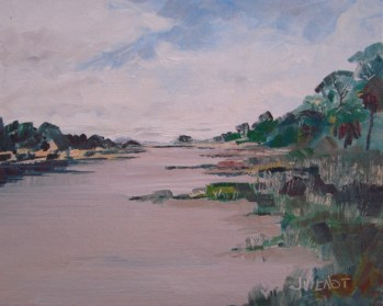 Oil painting of the view looking west behind the island, Apalachicola, Florida