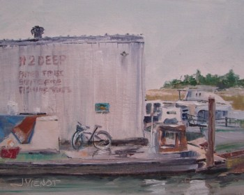 "Oil painting of the rainy view from under ""Up the Creek"" in Apalachicola, Florida"