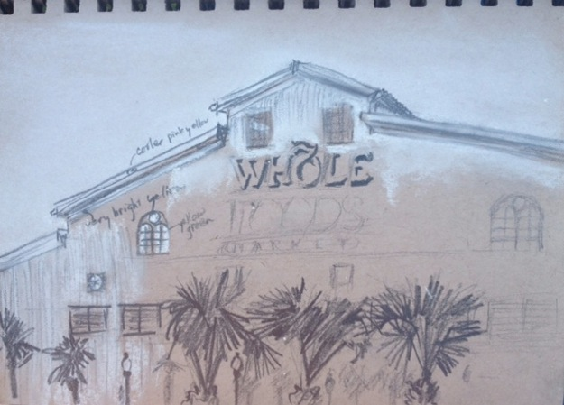 Value sketch on toned paper, Whole Foods on Magazine Street, New Orleans