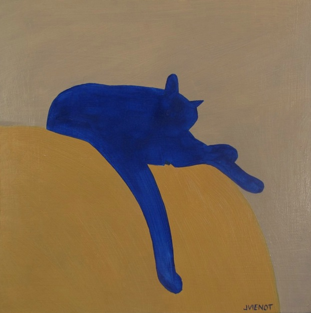 Oil painting of a blue cat silhouetted on a yellow sofa with light tan background