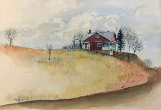 Watercolor painting of the house on the edge of Rose Hill in Westminster, CO, painted in 1980