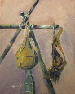 Oil painting of gourds hanging in the frontiersmen camp at the 2015 Florida Chautauqua Assembly