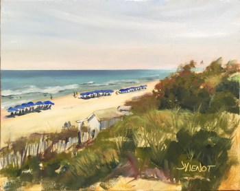 Oil painting of the beach foliage and beach umbrellas along the gulf-front at Seaside, FL, painted en plein air