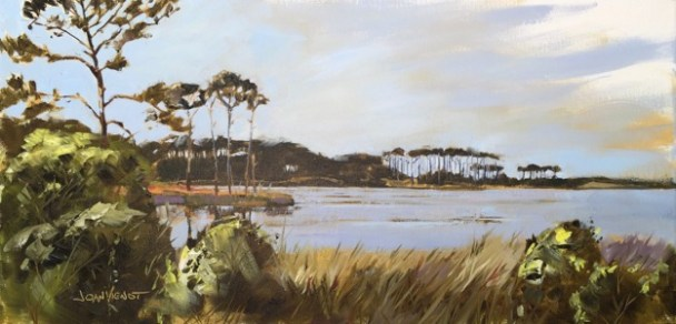 "Oil painting of the slash pines forming the iconic ""umbrella trees' of Western Lake at Grayton Beach, FL, painted en plein air"