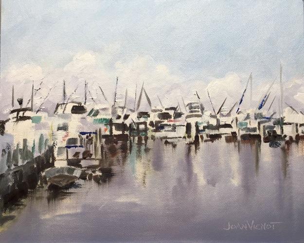 Oil painting of the docked boats at Sandestin's Baytowne Marina, Miramar Beach, FL