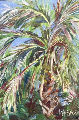 Oil painting of a palm tree at Indian Temple Mound in Ft. Walton Beach, FL
