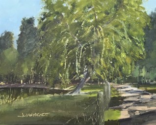 Oil painting of the willow and pond by the entrance road at Alaqua Animal Refuge, Portland, FL