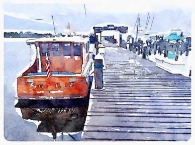 Photo of boat at Baytowne Marina, edited using Waterlogged application