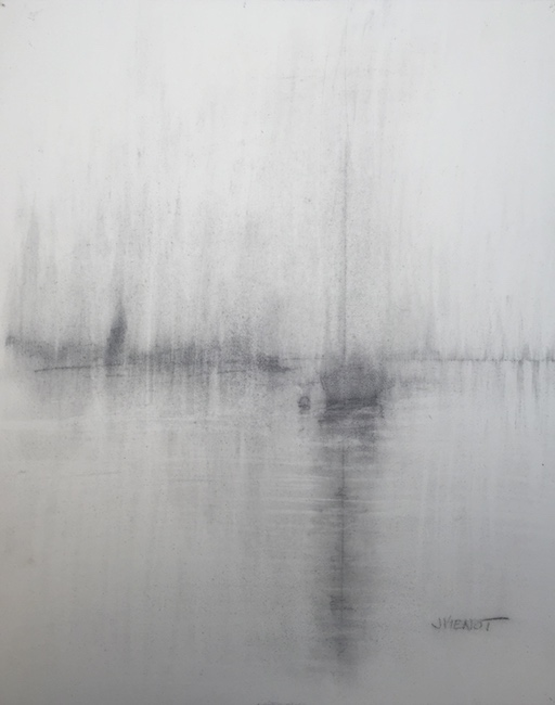 Graphite wash drawing of an anchored sailboat in the rain in Hogtown Bayou, Santa Rosa Beach, Florida