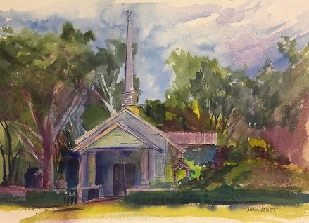 Watercolor painting of the United Methodist Church in Point Washington, FL