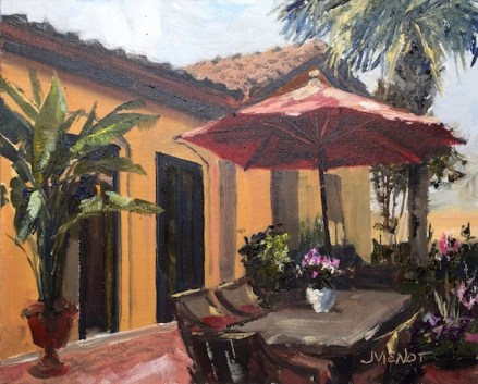Oil painting of a backyard patio with umbrella and plants