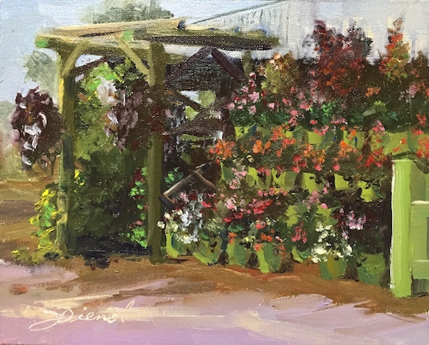 Oil painting of potted plants and arbor in a nursery