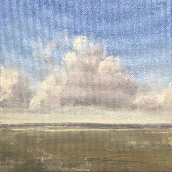 Oil painting of cumulus clouds over the Choctawhatchee Bay, from Nick's Restaurant; 3rd of 3
