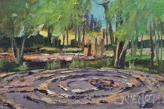 Oil painting of the labyrinth at Adobe and Pines Inn, Taos, NM
