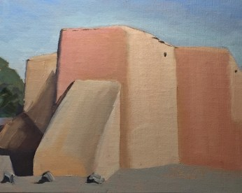 Oil painting of the back of the San Francisco de Asis Mission, Taos, NM