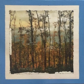 Photo transfer, antiqued, trees silhouetted against orange back-story