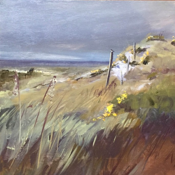 Oil painting of the grasses and dunes at the Gulf of Mexico on a cloudy day, with mockingbird on a fence post