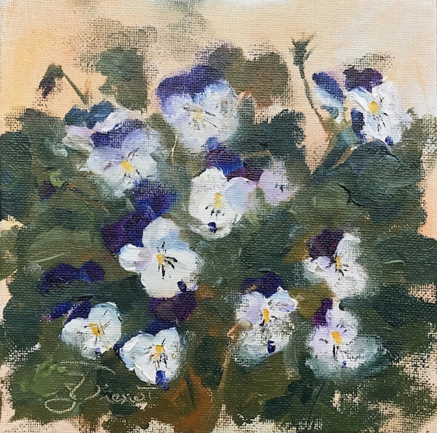 Oil painting of pansies, painted en plein air