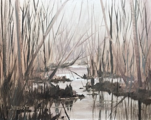 Oil painting of the foggy atmosphere at Turkey Creek