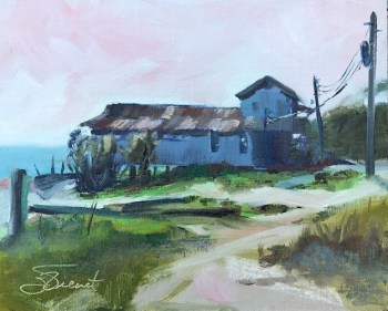 Oil painting of an old, closed up fishing building in Eastpoint, FL
