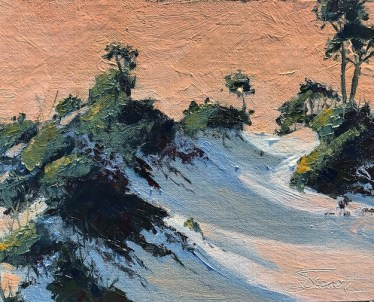 Oil painting of the dunes on St. George island at dusk