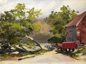 Oil painting of the wharf depot at Glenorchy, New Zealand