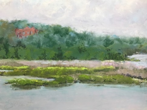Soft pastel study of a the afternoon light on the marsh at Bayou Texar, Pensacola, FL