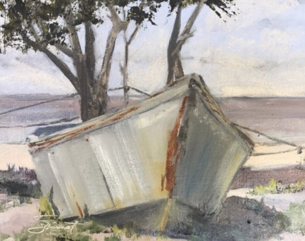 Oil painting of a V-bottomed boat at Nick's Restaurant on the Choctawhatchee Bay at Basin Bayou near Freeport, FL