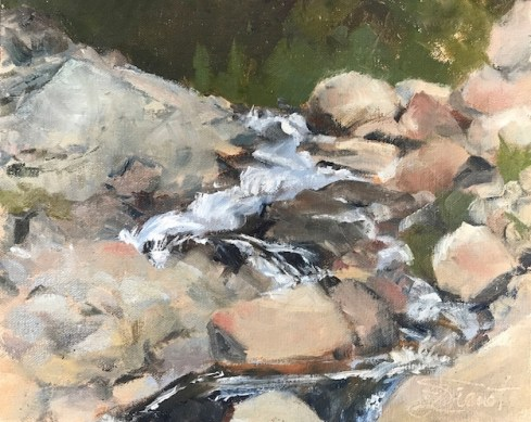 Oil painting of the falls cascading over the jumble of boulders in the Fall River Alluvial Fan in Rocky Mountain National Park