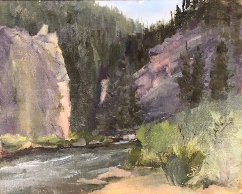 Oil painting of the Big Thompson River below the cliffs at Sleepy Hollow Park, below Estes Park