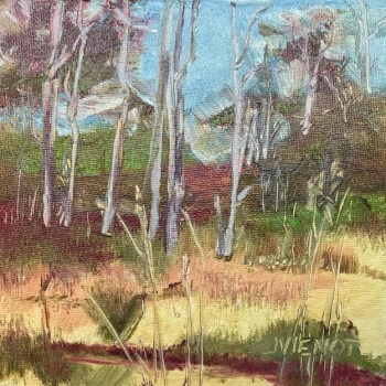 Oil painting of the gall colors on Mack Bayou, Santa Rosa Beach, FL, touched up from original painted in 2013