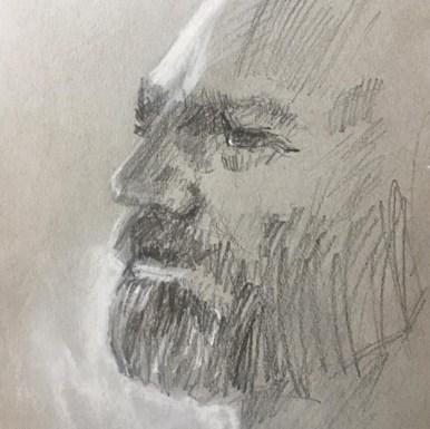 Pencil and nupastel sketch of David Boyd at Plein Air South, Apalachicola, FL, 2017
