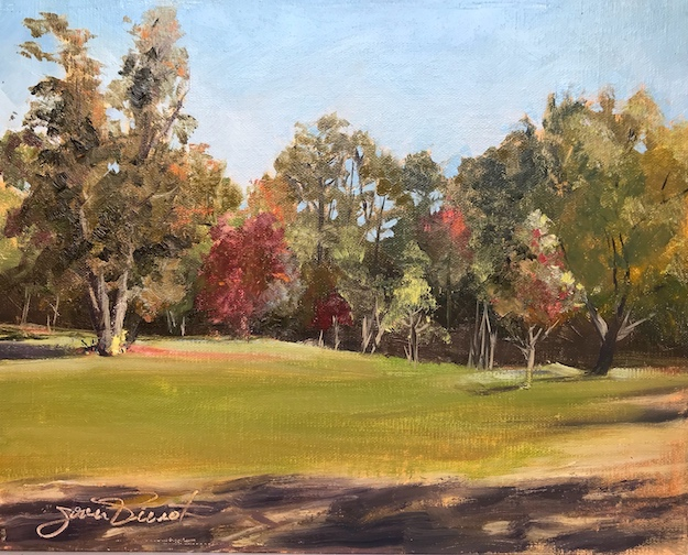 Oil painting of the horse pasture at Alaqua Animal Refuge, Freeport, FL, painted en plein air
