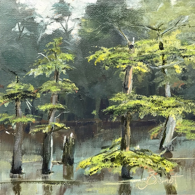Oil painting of the cypress in Morrison Springs, FL