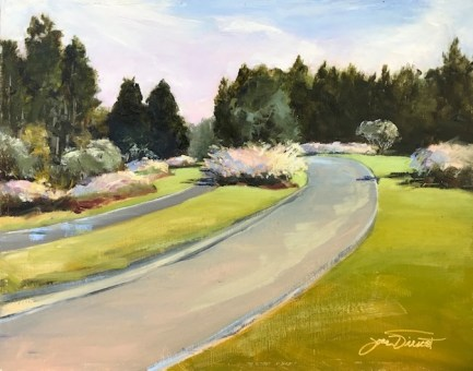 Oil painting of the early morning light on the road coming into Watersound Origins, Panama City Beach, FL