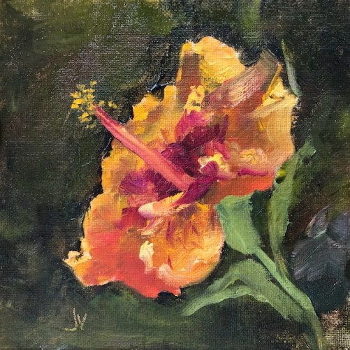 Oil painting of a hibiscus bloom at Clay Garden Shop, Seagrove Beach, FL