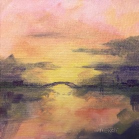 Oil painting of ethereal scene of sunset and a bridge