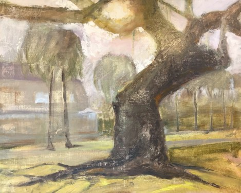 Oil painting of an ancient live oak tree on Jekyll Island, painted in Jason Sacran workshop