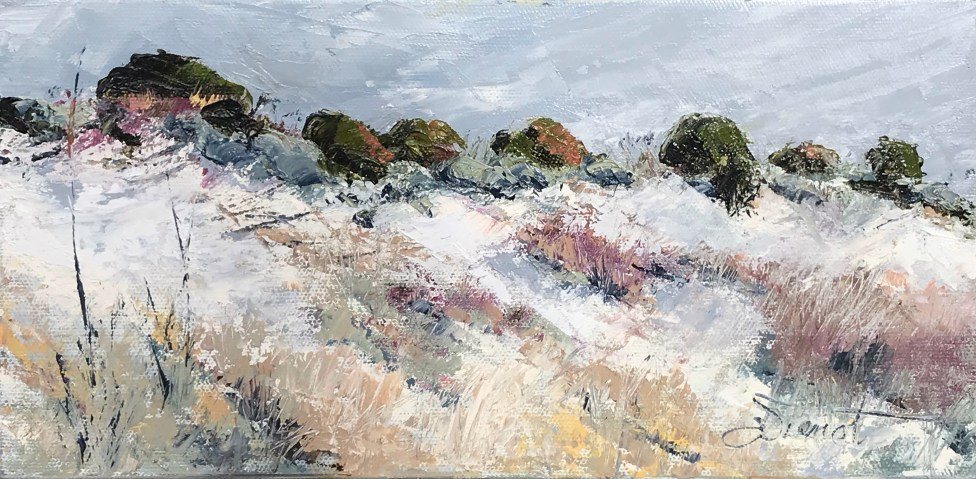 Oil painting of the upland dunes at Henderson Beach State Park