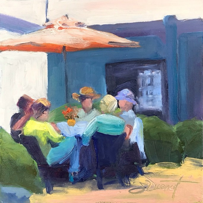 Oil painting of a group of people seated at a table under a cloth umbrella