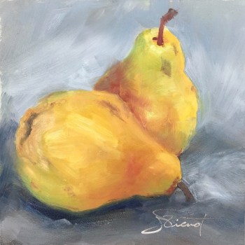 Oil painting of two pears on a gray background