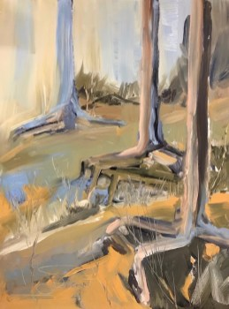 Oil painting of abstracted design of pine roots exposed by erosion on the bay shoreline