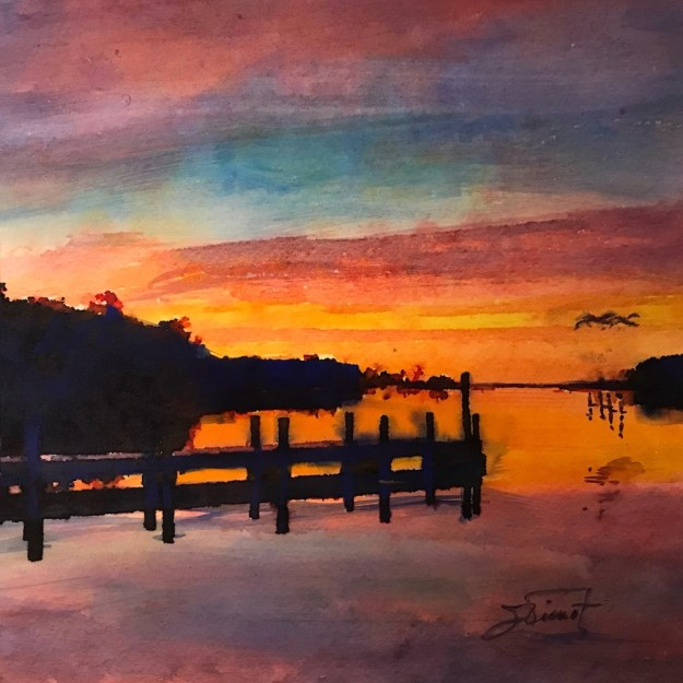 Watercolor and ink sketch of Tucker Bayou, Point Washington, FL, at sunset