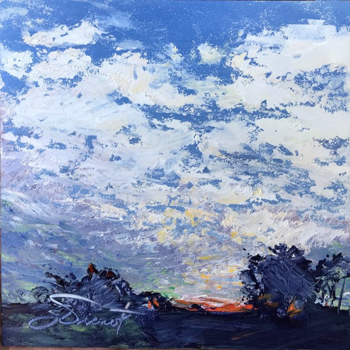 Oil painting of the twilight, with light starting to touch the clouds before sunrise on Jekyll Island, GA