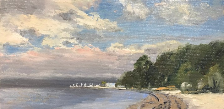 Oil painting of Fog on the Point on Beach Ave. in Panama City, FL
