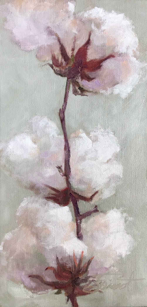 Oil painting of a stalk from a cotton plant