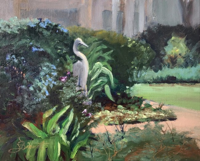 Oil painting of the heron butterfly garden at Eden Gardens State Park in Point Washington, FL